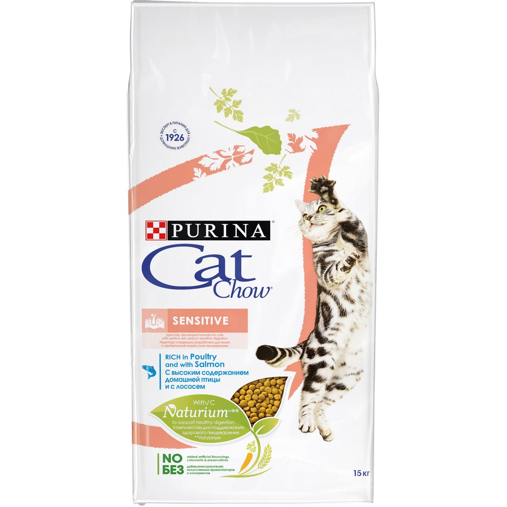 Cat Food Cat Chow Special Care Sensitive, Rich in Poultry and with Salmon, 15 kg dry food cat chow for adult cats with poultry and turkey 15 kg
