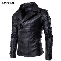 LASPERAL Plus Size 5XL 2017 PU Leather Jackets Men Lace Up Handsome Male Coat Long Sleeve