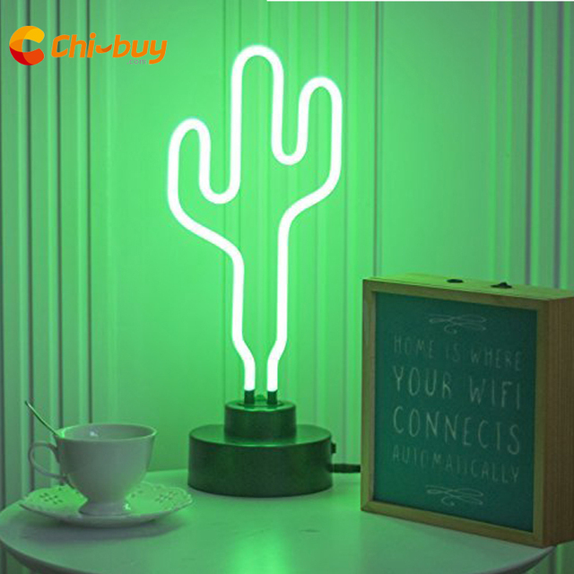 CHIBUY Retro Glass Tube Neon Cactus sign Neon lamp Sign 12V Cactus Neon Light Party wedding Home Decoration decorative signs