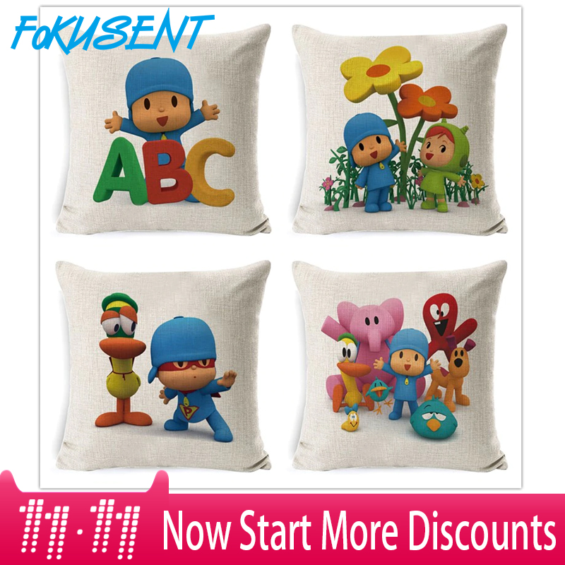 Fokusent Pocoyo Elly Pato Loula Pocoyo Dog Duck Cushion Cover Square Plain Multicolor Pillowcase Pillowsilp For Sofa Chair Decor