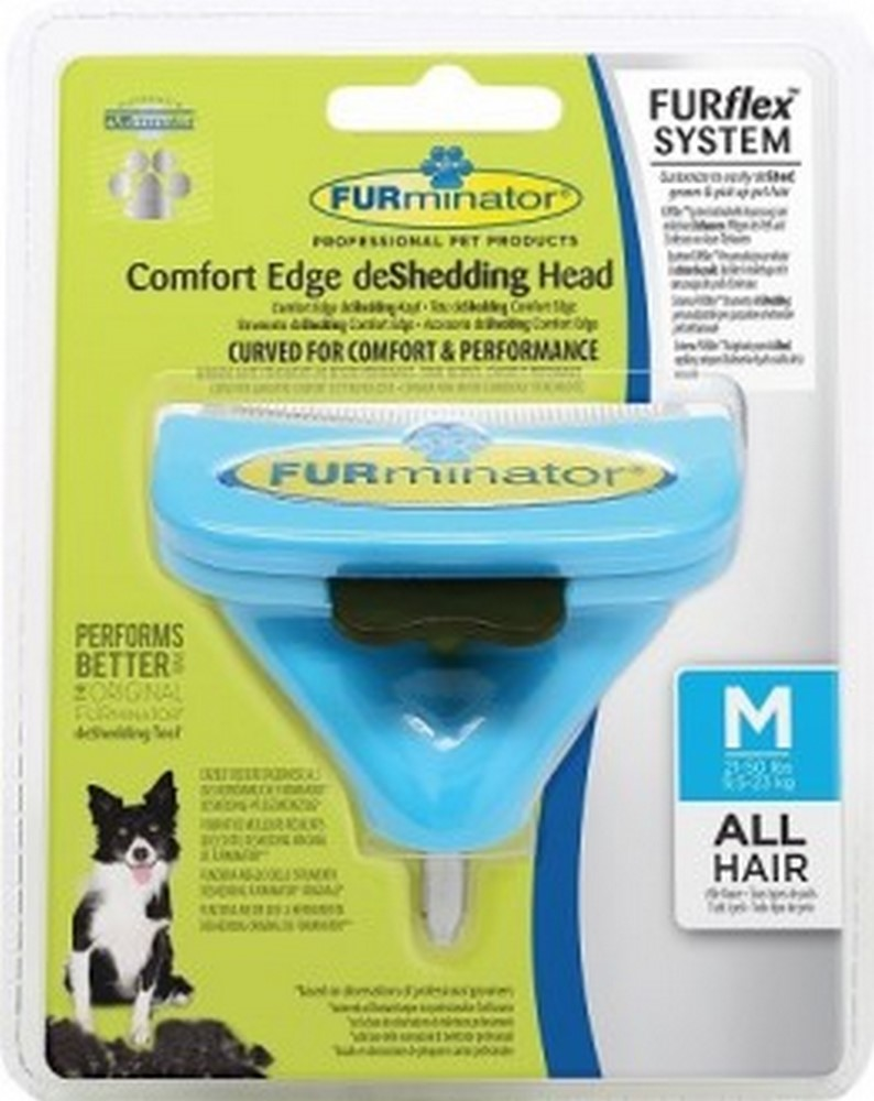 The tool against a molt of  FURminator FURflex nozzle against moulting M, for medium-sized dogs.  Dog Accessories