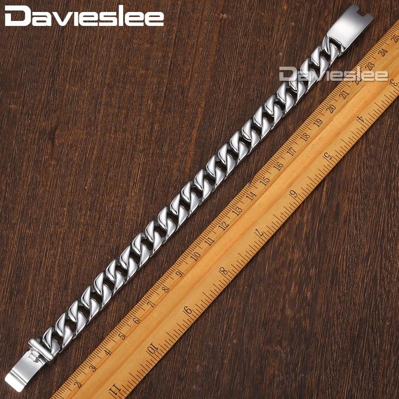 Davieslee Herren Armband Kette Curb Link 316L Edelstahl Armbänder - Modeschmuck - Foto 2