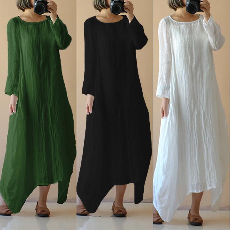 2018 Summer Autumn Celmia Women Retro Linen Dress O Neck Long Sleeve Maxi Long Dresses Casual Loose Plus Size Vestidos S-5XL