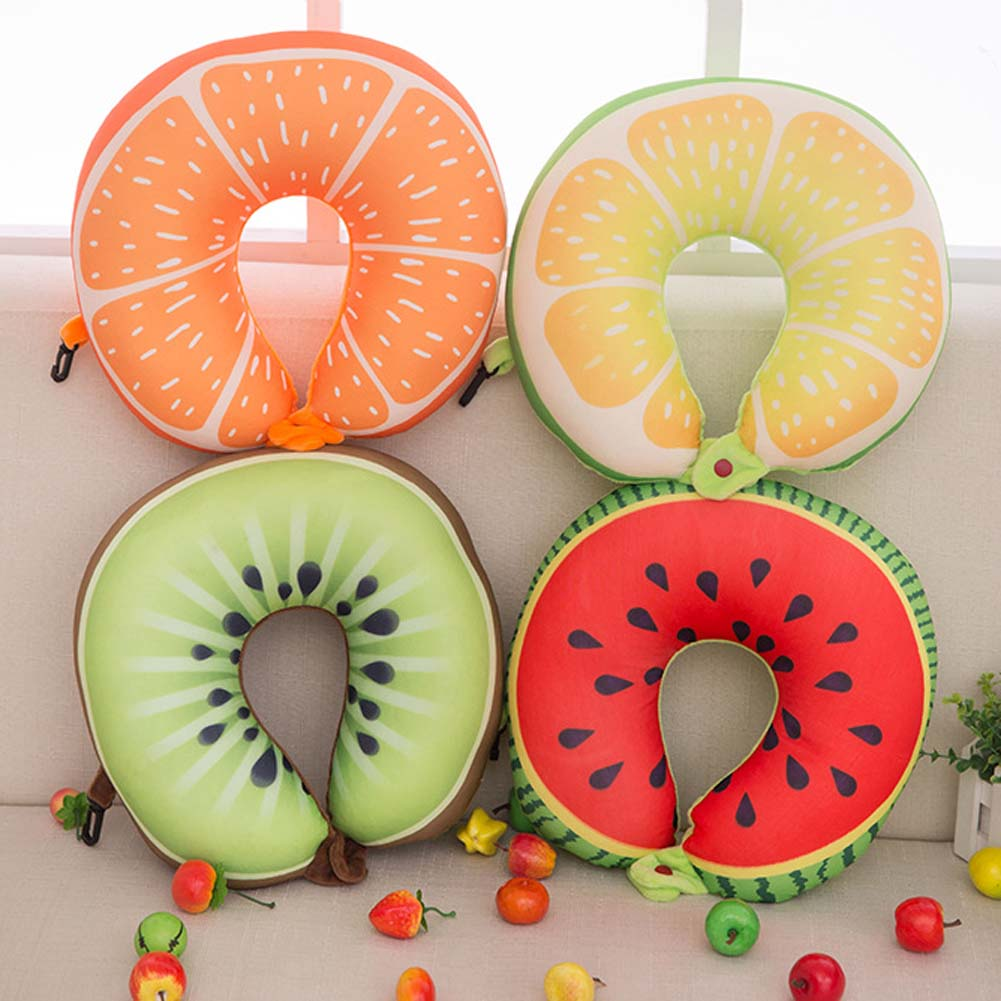 1 Pièces! Fruit U En Forme Oreiller Sieste Voyage Oreiller Voiture Cou Oreiller Pastèque Citron Kiwi Orange Oreillers Doux Coussin Maison Bureau