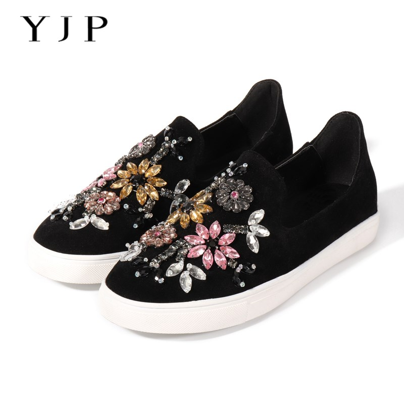 YJP Rhinestone Women Shoes Sneakers, Spring Autumn Suede Leather Flats Casual Shoes, Ladies Slip-on Loafers Leisure Flat Shoes spring and autumn women s loafers flat shoes casual slip on flat women shoes cute bowtie shallow mouth ladies flats shoes women