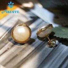 ANI 14K Roll Gold Women Stud Earring Natural Freshwater White Pearl Dangle orecchini donna Fine Handmade Jewelry