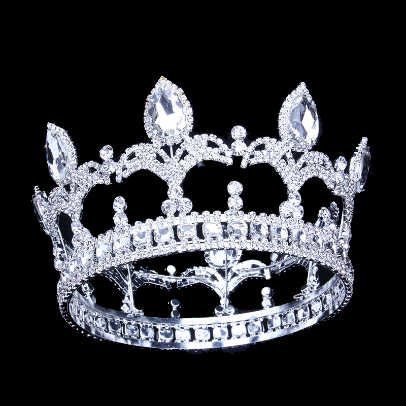 9 5cm 3 74in Height Men Crown King Tiaras Full Circle Round Trendy Crystal Wedding Hair