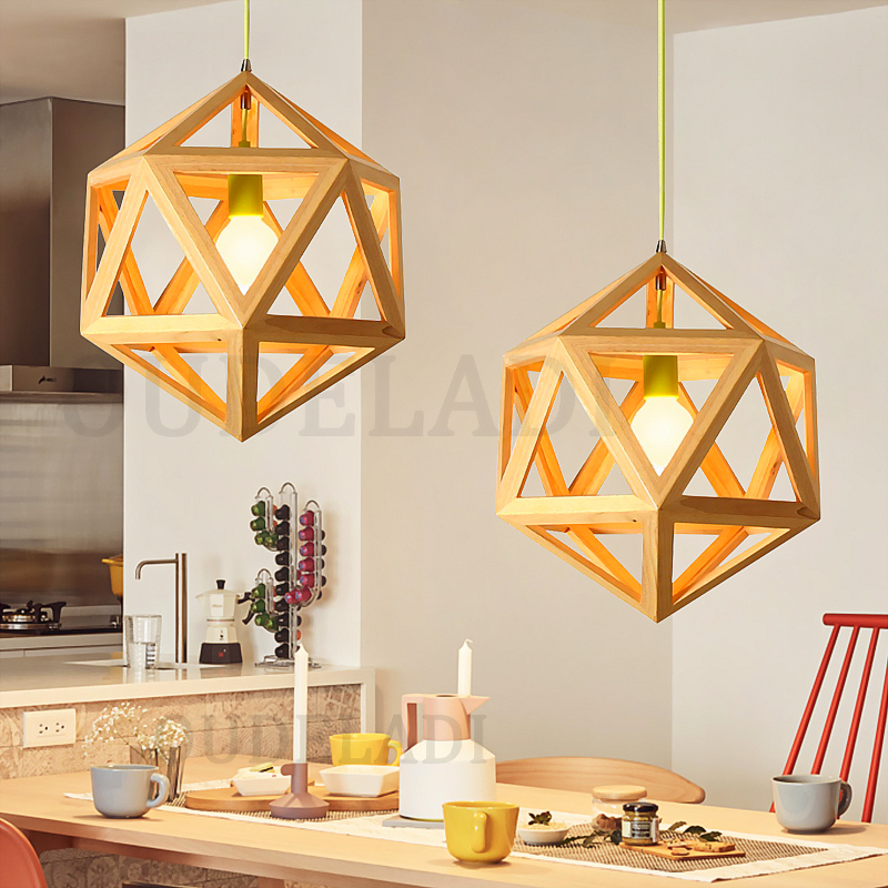 Modern Nordic geometric solid wood Pendant Lights bar bar cafe restaurant home lamps with E27 solid wooden restaurant lamp pendant lights wood nordic new rectangular bar led solid wood office pendant lamps mz141
