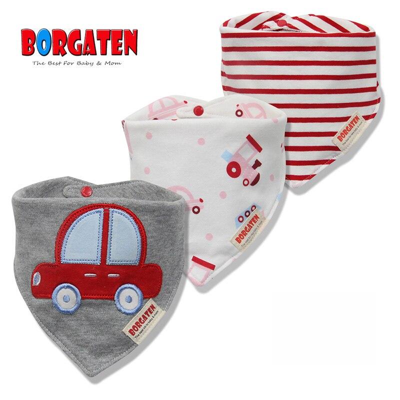 3pcs BORGATEN 100% Cotton Baby Bib Muslin Bandana Bibs Newborn Boy or Girl Burp Cloth Feeding Accessories Slabber Apron Toddler