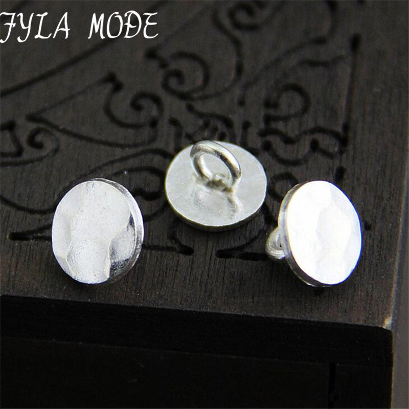 Fyla Mode High Quality 925 Thai Silver 11mm Metal Button Clasp Charms Styles Jewelry Finding Fit For Bracelet Braided DIY 11mm