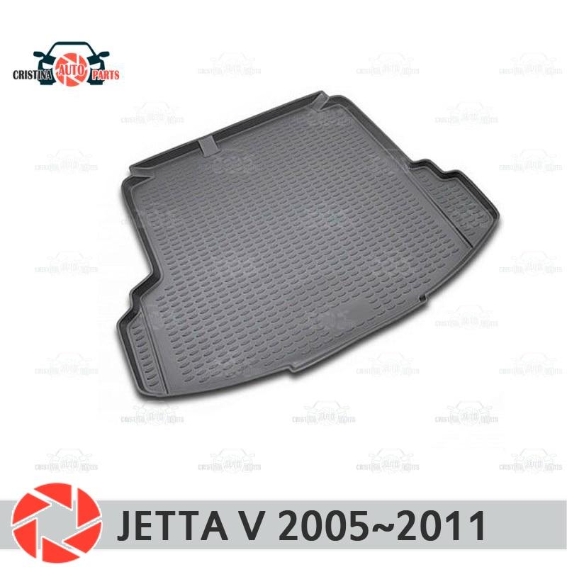 Mat tronco para Volkswagen Jetta V 2005 ~ 2011 maletero alfombras de piso antideslizante poliuretano tierra Protección interior del maletero de coche estilo