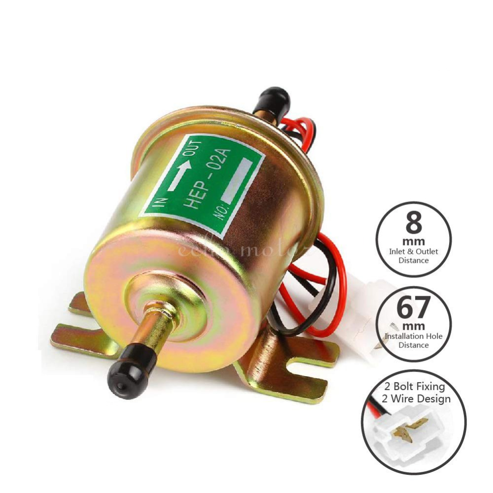 New HEP 02A Electric Fuel Pump 12V Low Pressure Bolt Fixing Wire Diesel Petrol For Car Carburetor Motorcycle ATV in Fuel Pumps from Automobiles Motorcycles