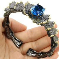 Vintage Big Heavy 69.6g London Blue Topaz Party Silver Bracelet Bangle 7.5inch 75x25mm