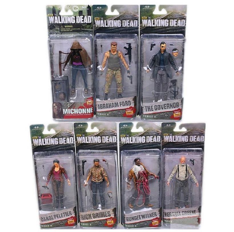 все цены на Anime AMC The Walking Dead Rick Grimes Daryl Dixon Glenn Rhee Carl Grimes 15cm PVC Action Figure Toy Collectible Model Toys