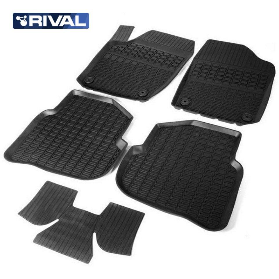цена на For Volkswagen Tiguan 2011-2016 rubber floor mats into saloon 5 pcs/set Rival 65804001