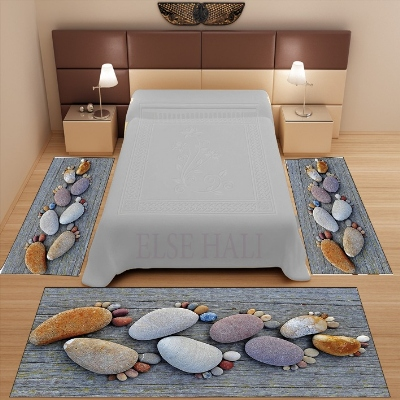 Else 3 Piece Gray Wood Brown Foot Stones Nature 3d Pattern Print Non Slip Microfiber Washable Decor Bedroom Area Rug Carpet Set