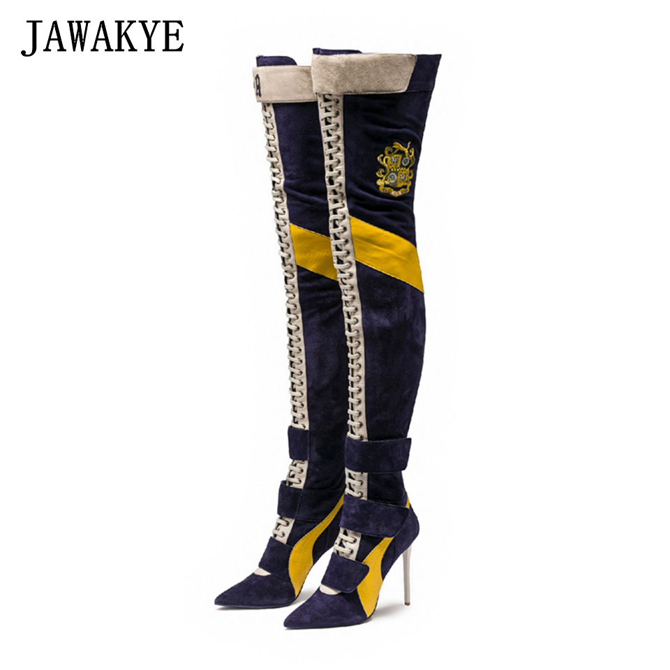 New Arrival Blue Patchwork Thigh high boots Women pointy toe High heels Lace up botas largas Sexy Over the knee knight boots round toe over the knee boots british style good leather mixed color knight boots patchwork thigh high boots