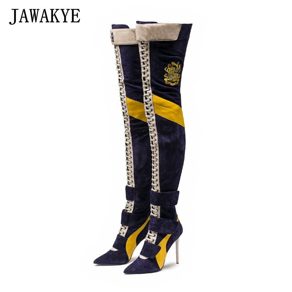 새로운 도착 블루 패치 워크 허벅지 높은 부츠 여성 뾰족한 발가락 하이힐 레이스 업 botas largas 섹시한 무릎 나이트 부츠-에서무릎위 부츠부터 신발 의  그룹 1