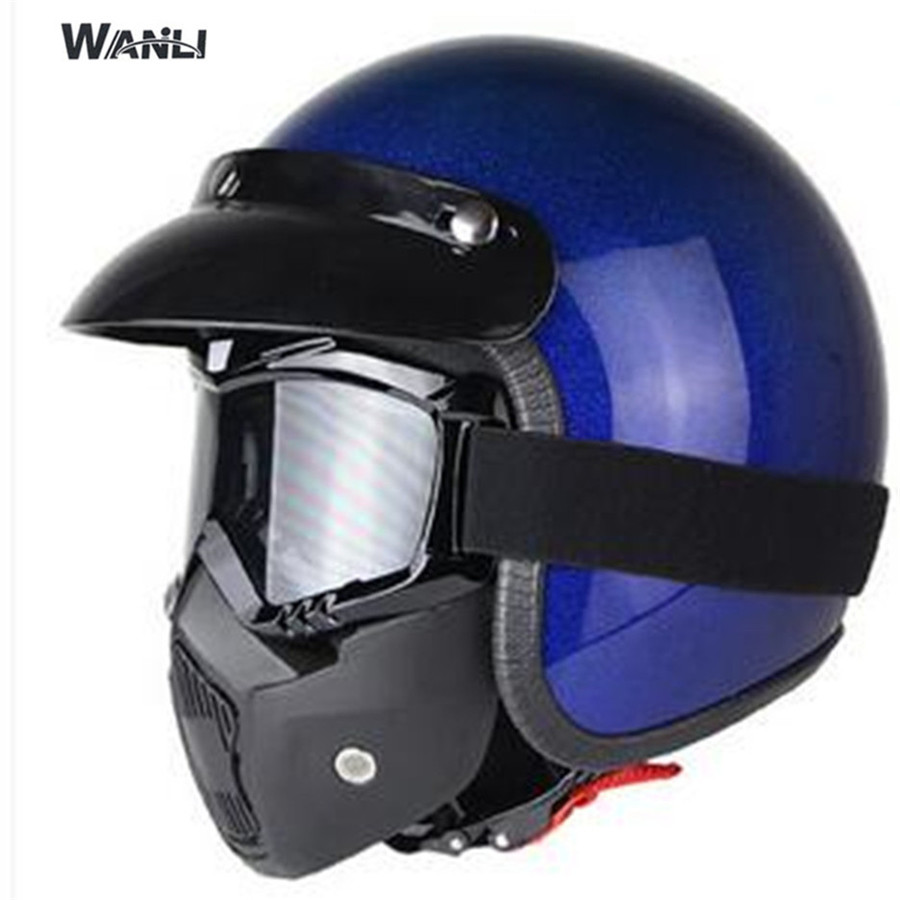 HOT sell detachable mask men 3 4 vintage moto helmet classic harley goggles scooter retro vespa open face motocycle helmets in Helmets from Automobiles Motorcycles