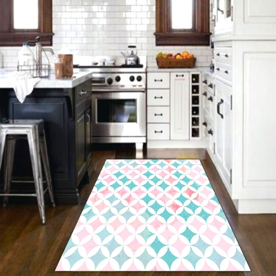 Else Pink Green Geometric Tiles Modern 3d Print Non Slip Microfiber Kitchen Modern Decorative Washable Area Rug Mat
