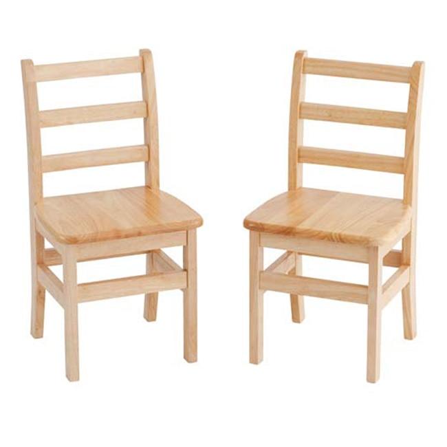 ECR4Kids Preschool Hardwood 18 Three Rung Ladderback Chair - AssortedM, 2 Pack education preschool
