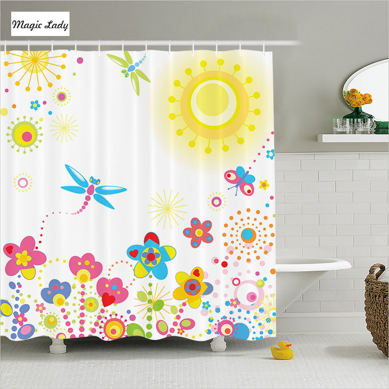 Shower curtains kids bathroom accessories summer floral for Kids bathroom accessories