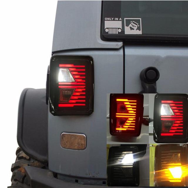 2018 New Smoked LED Tail Lights Taillights For Jeep Wrangler JK JKU Sports, Sahara, Freedom Rubicon 2007- 2017