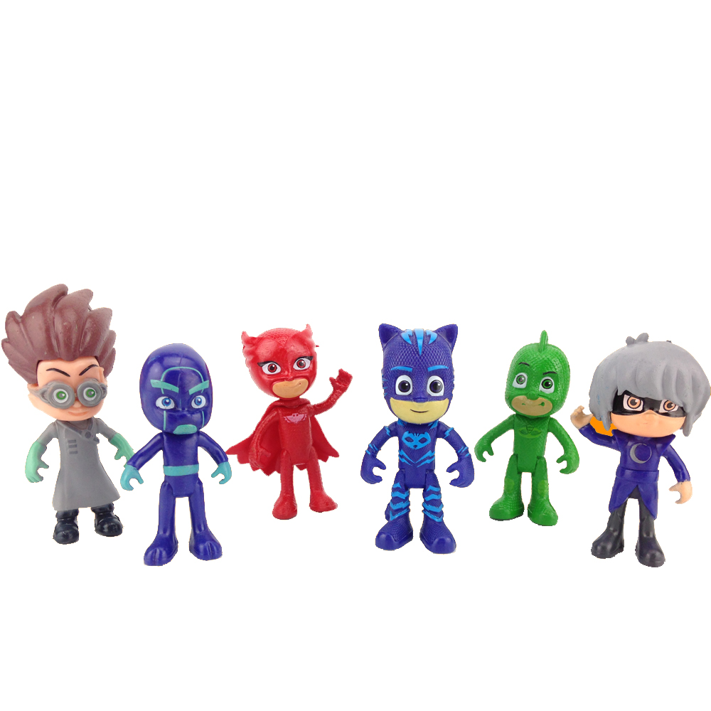Pj Character Mask Catboy Owlette Gekko Cloak Action Figure Toy Plastic for Boy Birthday Gift 6pcs/set