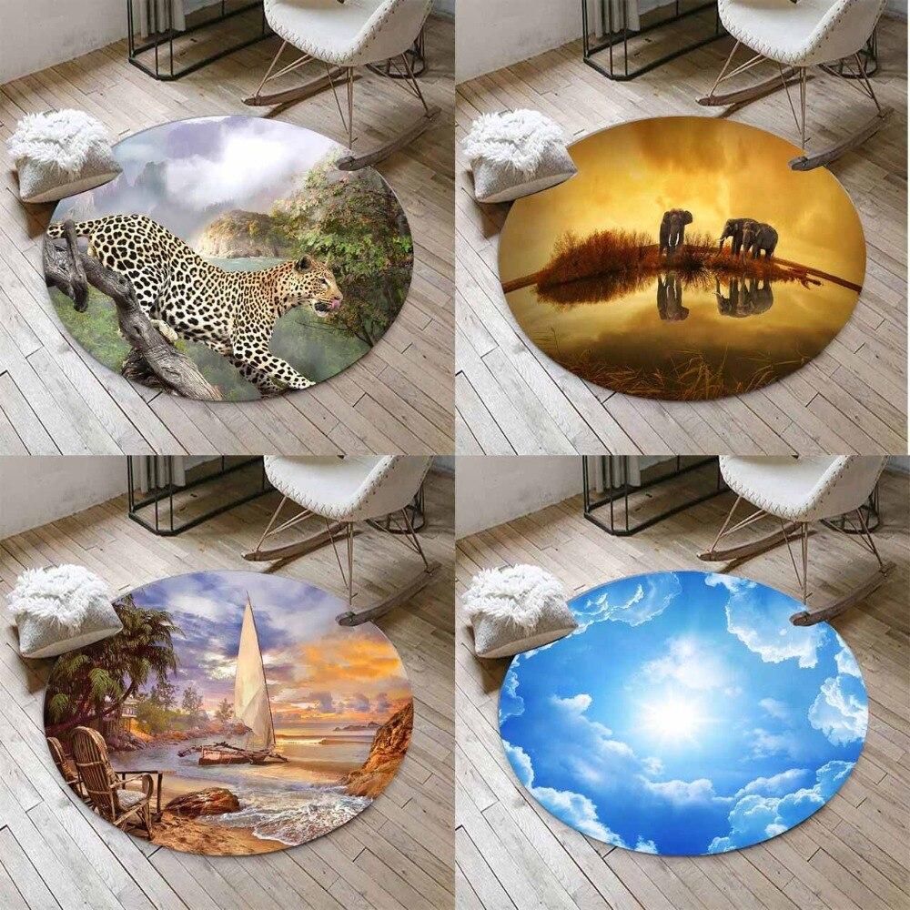 Else Afran Animals Leopard Sky Beach  3d Non Slip Microfiber Round Carpets Area Rug For Living Rooms Kitchen Bedroom Bathroom