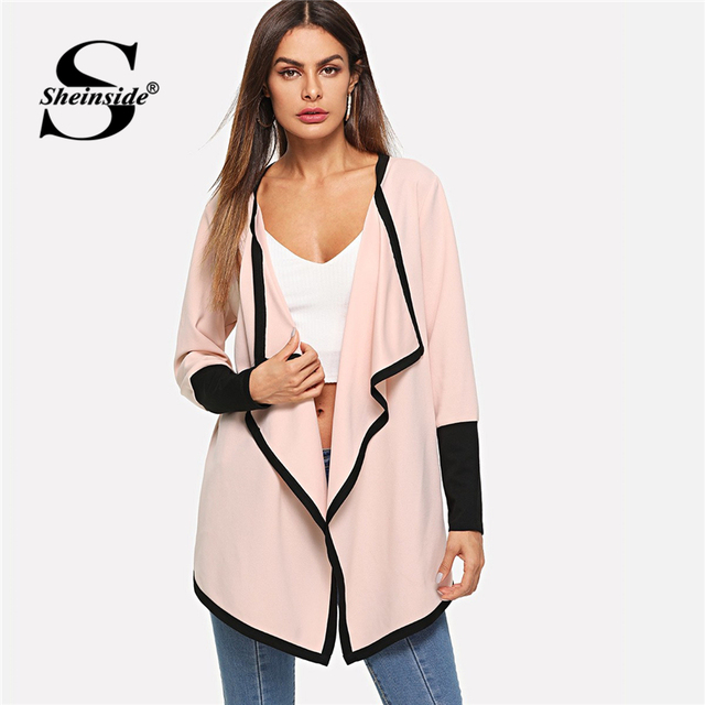 2d06d9af16 Sheinside Pink Waterfall Collar Contrast Cuff Trench Coat Women Workwear  2018 Long Sleeve Elegant Autumn Outerwear
