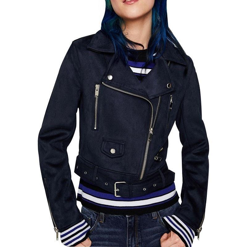 2019 New Autumn Winter Women Soft   Suede   Faux   Leather   Jackets And Coats Lady Matte streetwear Zippers Belt Dark Outerwear PY01