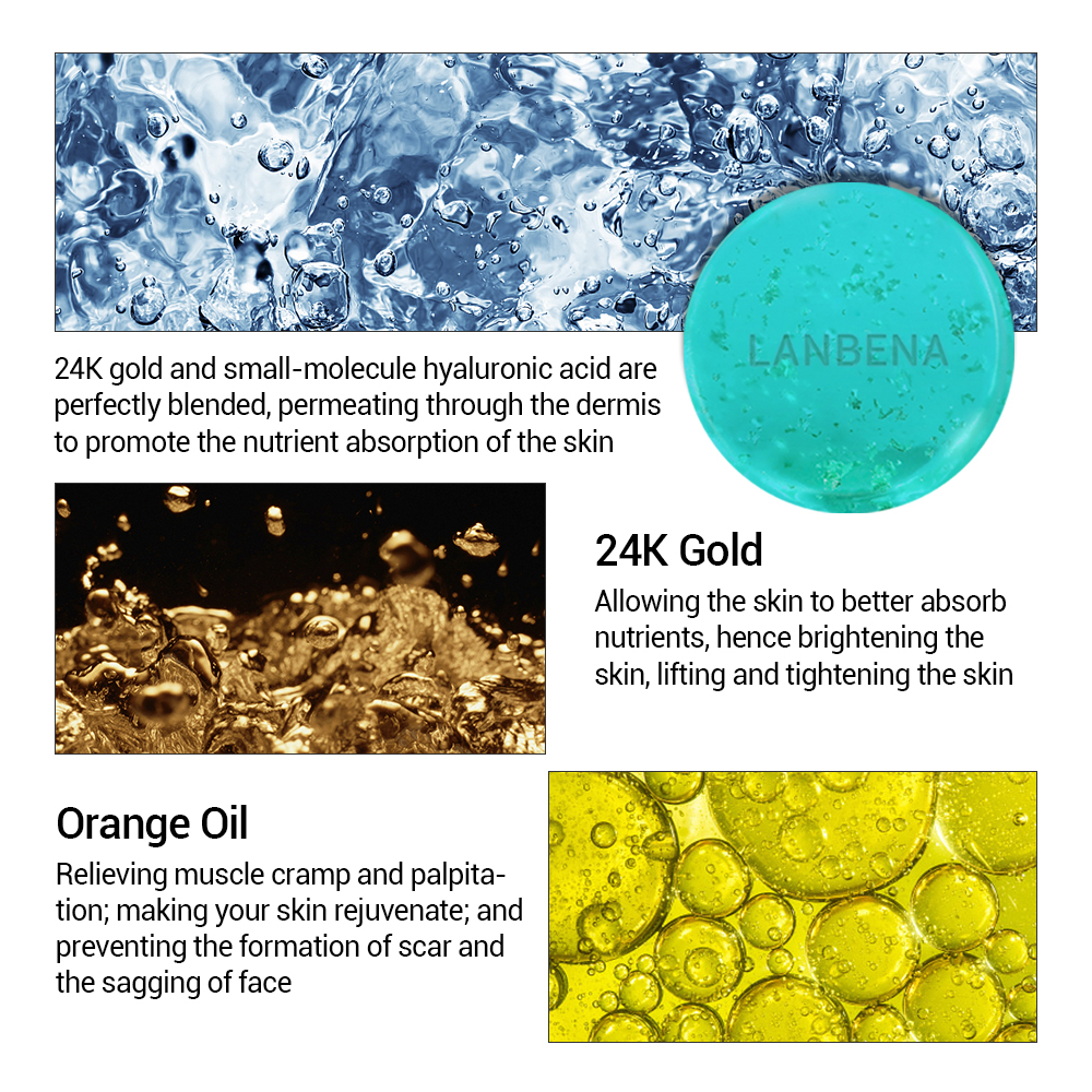 LANBENA 24K Gold Hyaluronic Acid Handmade Soap Moisturizing Face Cleaning Acne Treatment Repair Whitening Anti Aning Winkles 40g in Cleansers from Beauty Health
