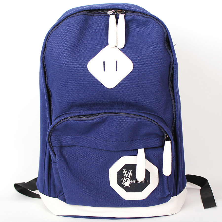 Backpack SHENGLI blue, Backpack, urban backpack, sports, women's backpack, gift, Omo-508 double zipper canvas backpack