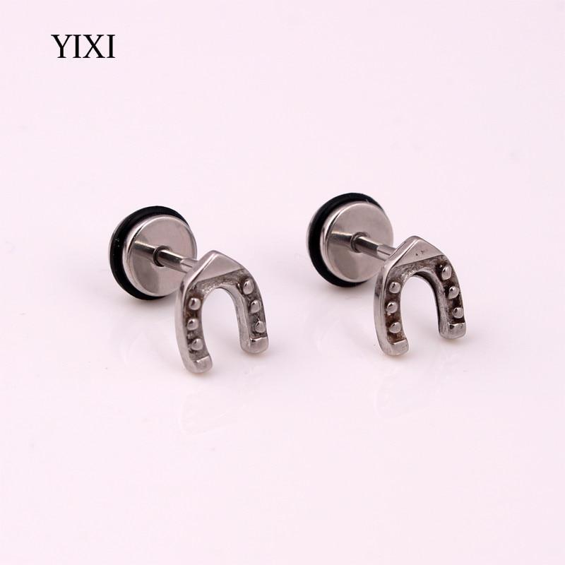 Yixi Brand New 7x8mm Horseshoe U Shape Earrings Ear Studs For Women Men Punk Jewelry Stainless Steel Barbell Piercing In Stud From
