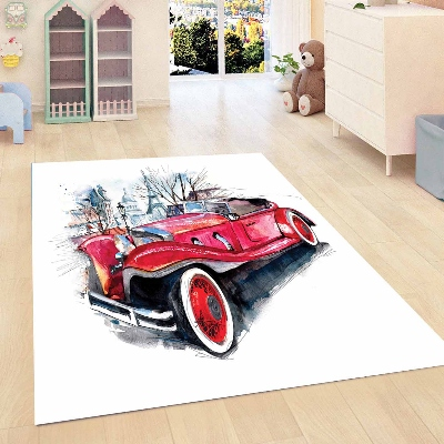 Else Red Vintage Retro Clasic Car Boys Kids Room 3d Print Non Slip Microfiber Children Kids Room Decorative Area Rug Mat