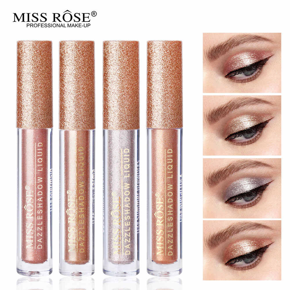 Miss Rose Metallic Diamond Vloeibare Oogschaduw Tint Make-Up Laatste Shimmer Glitter Golden Champagne Folie Hoge Glans Oogschaduw Topper