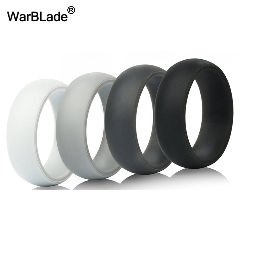 8mm 6-12 Size 100% Food Grade FDA Silicone Ring Hypoallergenic Crossfit Flexible Silicone Finger Rings For Men Women 4pcs/set