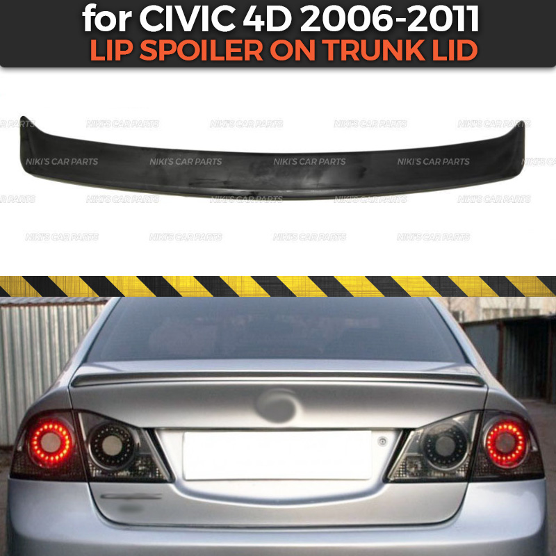 Lip spoiler case for Honda Civic 4D 2006 2011 ABS plastic sport  style car styling car accessories decoration aero dynamicChromium  Styling