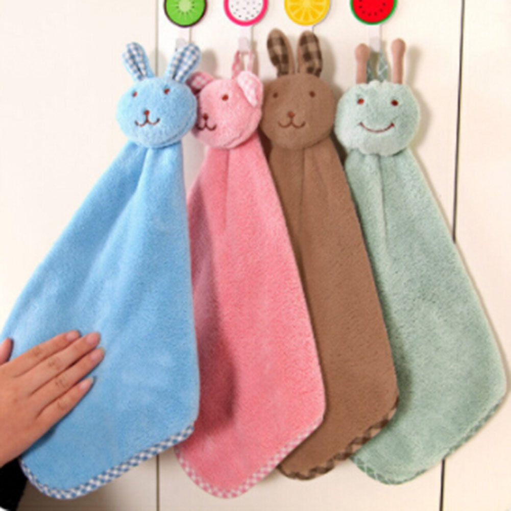 Baby Hand Towel Soft Plush Cartoon Animal Rabbit Plush Hanging Bath Wipe Towel Kid Cute 4 colors