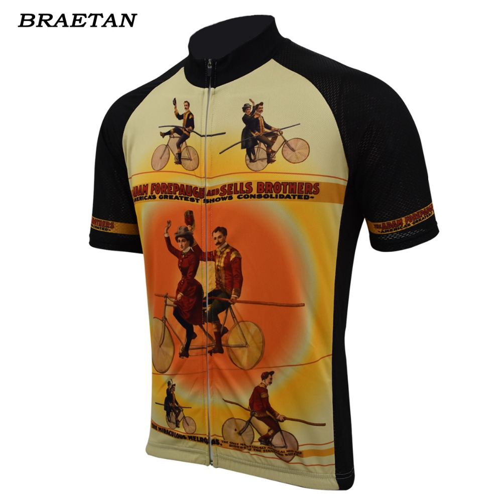 Retro Style Cycling Jersey Circus Summer Short Sleeve Funny Bike Wear Jersey Road Jersey Cycling Clothing Maillot Braetan