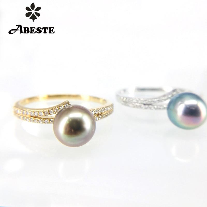 ANI 9K Yellow/White Gold Women Wedding Ring 7-8mm Natural White Freshwater/Tahiti Black Pearl Engagement Real Diamond Stock