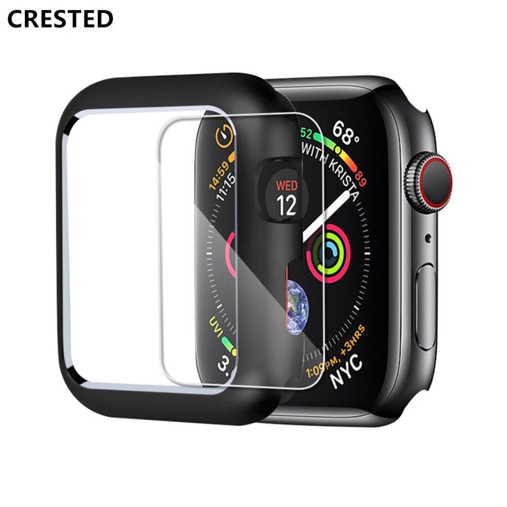 CRESTED magnético para el apple watch caso apple watch 4 3 44mm/42mm iwatch banda 40mm/38mm protector de pantalla de vidrio protector