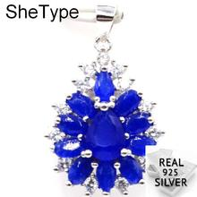 4.3g Deluxe Real Blue Sapphire Purple Amehtyst Cubic Zirconia Ladies 925 Solid Sterling Silver Pendant 30x19mm