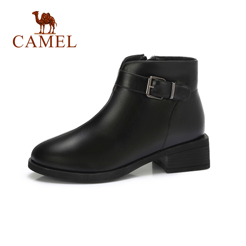 CAMEL Women Boots Shoes 2018 Sample Style Flat Heel Thick Heel Short Boots Shoes Women Black Color Solid Shoes For Ladies stylish solid color lightweight pleated scarf for women