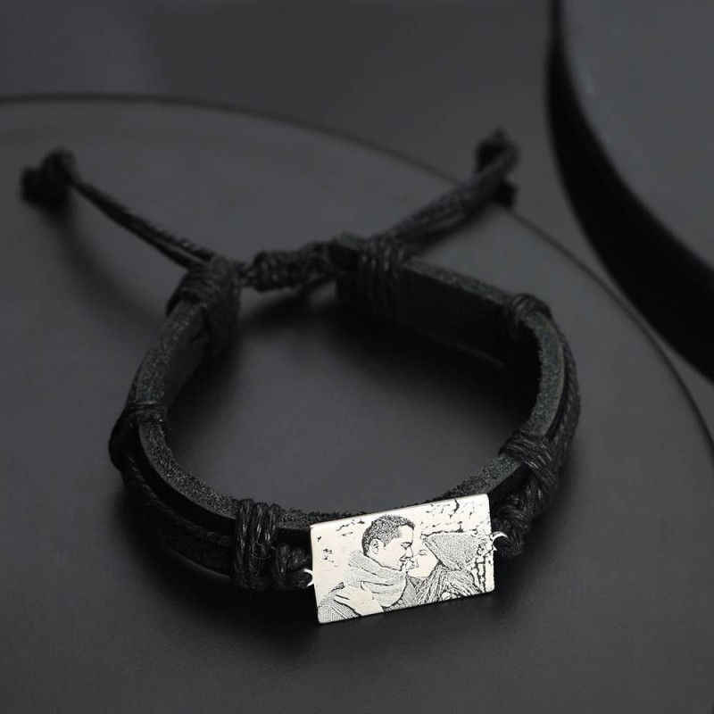 Men's Rectangle Photo Engraved Tag Bracelet Personalized