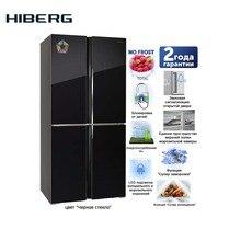4-дверный холодильник HIBERG RFQ-490DX NFGB с фасадом из черного стекла, объем 490 л
