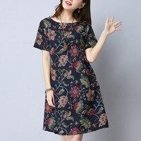 M 2XL Women Short Sleeve Cotton Linen Mini Dress Print O Neck Loose Dress 2017 Chinese