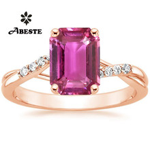 ANI 18K Rose Gold (AU750) Women Wedding Ring Certified Natural Pink Sapphire Pear/Oval/Rectangle Shape Bague Real Diamond
