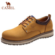 CAMEL Genuine Leather Men Shoes England Trend Male Footwear Mens Casual Outdoors Short Boots Man Work Shoes Large Size 47