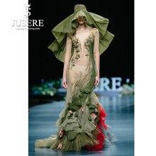 JUSERE 2019 SS MODA GÖSTERISI Yeşil Mermaid Balo Elbise Dantel Aplikler Nakış Çiçek Uzun balo kıyafetleri Elbise robe de soiree